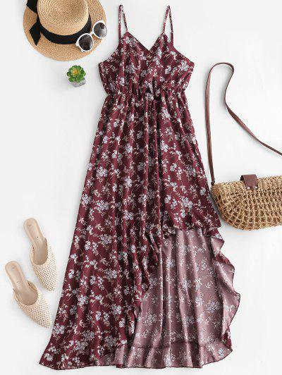 Ditsy Floral Ruffle High Low Surplice Cami Dress - Deep Red S