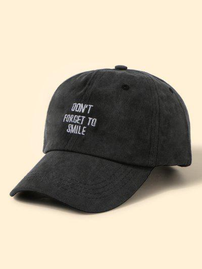 Letters Embroidery Washed Baseball Cap - Black