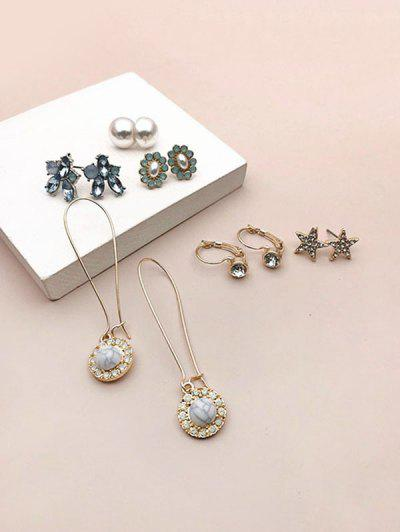 6 Pairs Faux Gem Star Earrings Set - Golden