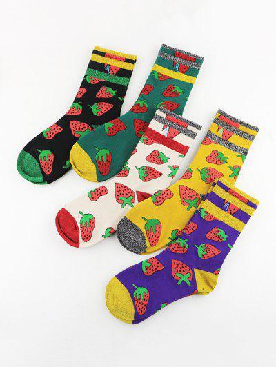 5 Pairs Strawberry Pattern Crew Socks Set - Multi