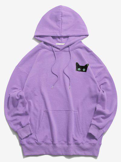 Sudadera Con Capucha De Bolsillo Con Patrón De Gato De Dibujos Animados - Púrpura L