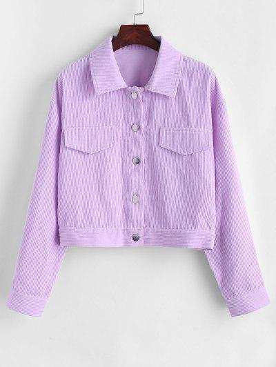 Flap Detail Drop Shoulder Corduroy Jacket - Light Purple M