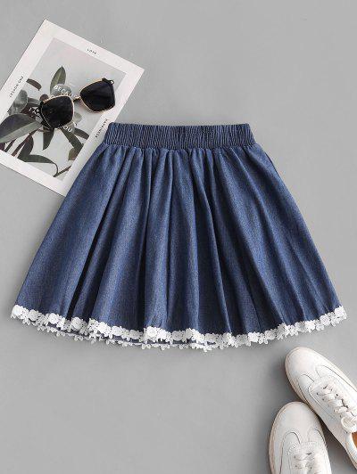 Guipure Insert Bicolor Denim Mini Skirt - Blue
