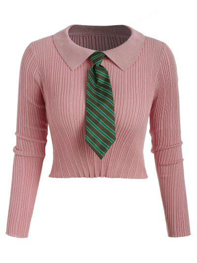 Cropped Ribbed Striped Tie Knitwear - Light Pink