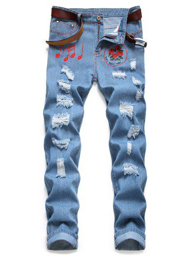 Ripped Music Note Rose Embroidery Jeans - Jeans Blue 34