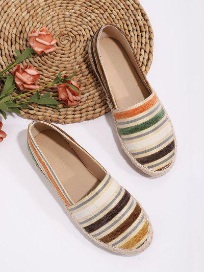 Colorful Striped Espadrilles Loafer Flat Shoes - Multi-a Eu 38