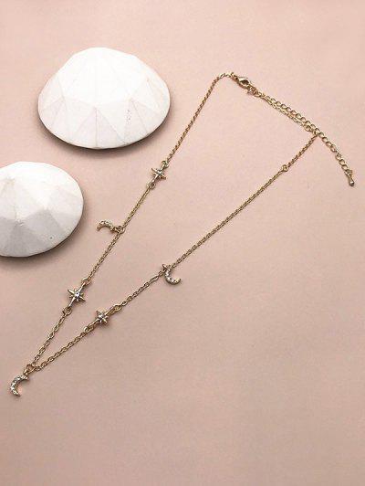 Rhinestone Moon Star Chain Necklace - Golden