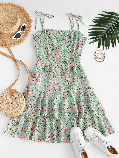 Ditsy Floral Flounce Smocked Tie Cami Dress - Light Green S
