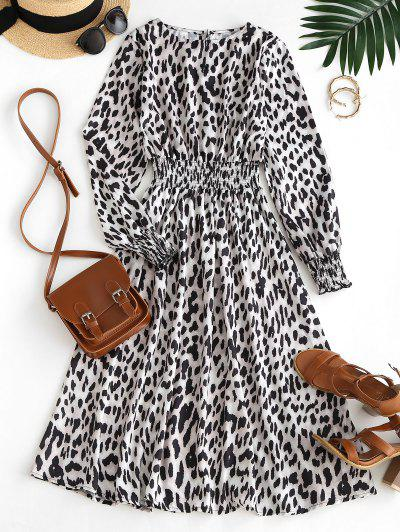 Leopard Smocked Waist A Line Midi Dress - Multi S