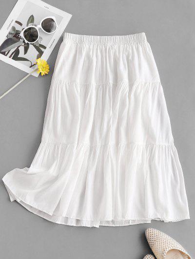 Plain Tiered Midi Skirt - White