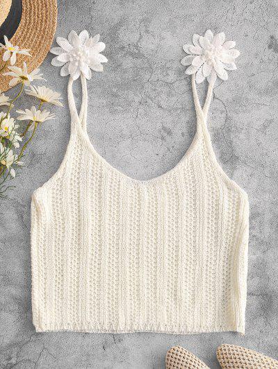 Applique Flower Crochet Crop Beach Tank Top - White L