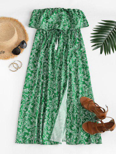 Leaf Print Flounce Slit Strapless Maxi Dress - Green L