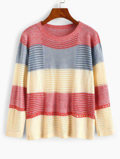 Color Blocking Pointelle Sheer Knit Sweater - Red