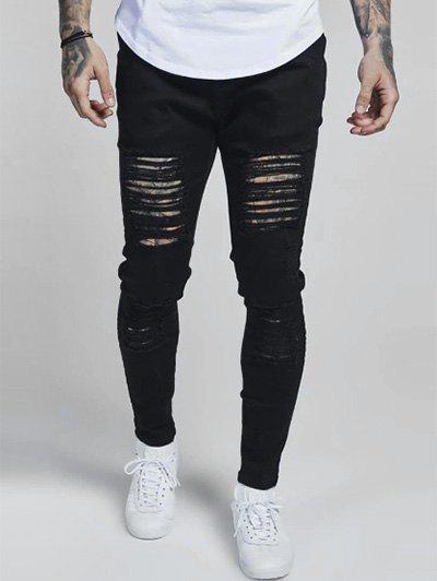 Dark Wash Ripped Skinny Jeans - Black 32