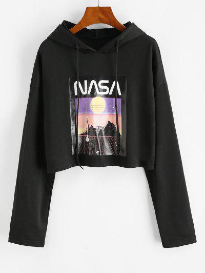 French Terry Drop Shoulder Spaceflight Patterned Hoodie - Black S