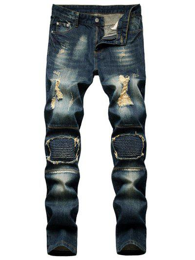 Dirty Wash Distressed Moto Jeans - Deep Blue 40