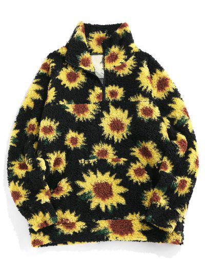 ZAFUL Sunflower Pattern Faux Fur Fluffy Jacket - Black M