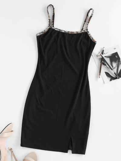 ZAFUL Front Slit Snake Trim Rib Knit Dress - Black M