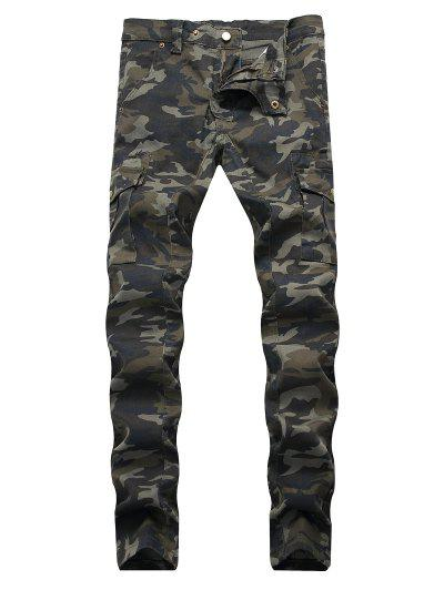 Camouflage Print Tapered Cargo Jeans - Woodland Camouflage 34