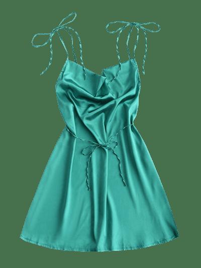 Satin Cowl Front Backless Mini Dress