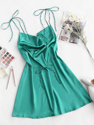 Satin Cowl Front Backless Mini Dress - Deep Green M