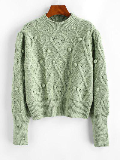 Mock Neck Dotted Bubble Mixed Knit Sweater - Light Green