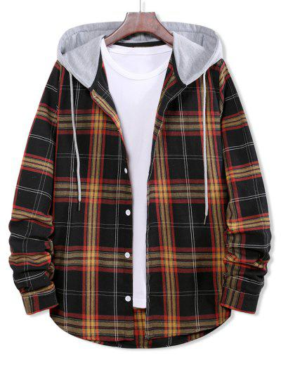 Colorblock Plaid Print Hooded Button Up Shirt - Black L