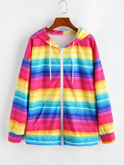 Full Zip Pockets Rainbow Stripes Hoodie - Multi-a Xl