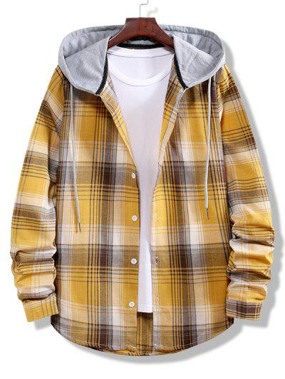 Colorblock Striped Plaid Pattern Button Up Shirt - Golden Brown M