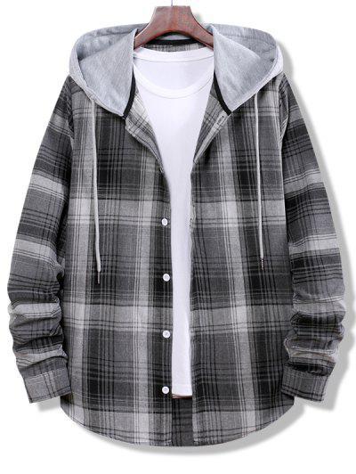 Colorblock Striped Plaid Pattern Button Up Shirt - Smokey Gray S