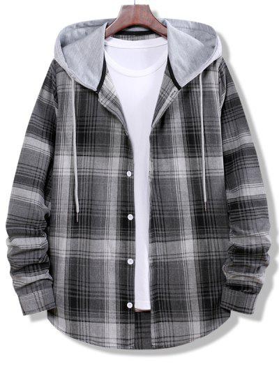 Colorblock Striped Plaid Pattern Button Up Shirt - Smokey Gray M