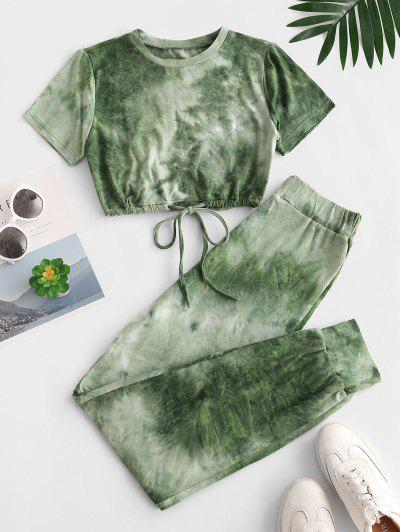 Tie Dye Sports Drawstring Hem Pants Set - Deep Green S