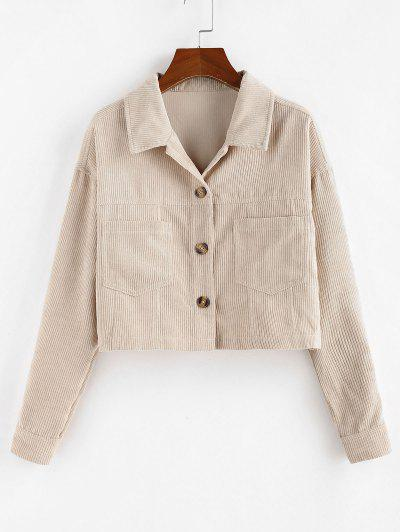 ZAFUL Corduroy Front Pockets Crop Jacket - Antique White M