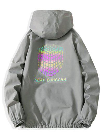 Zip Up Reflective Geometric Graphic Print Hooded Jacket - Light Gray M