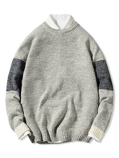 Crew Neck Contrast Pullover Sweater - Light Gray Xs