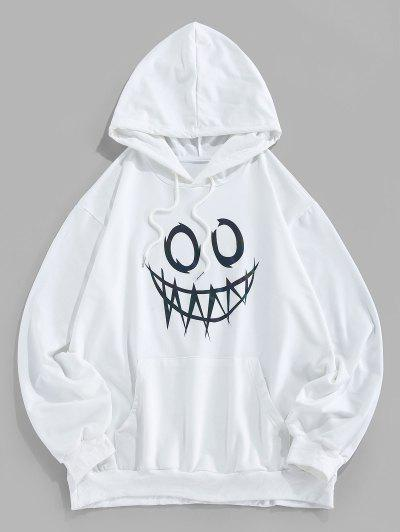 ZAFUL Luminous Cartoon Print Kangaroo Pocket Hoodie - White M