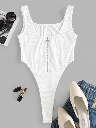 ZAFUL Ribbed Pull Ring Zip High Cut Bodysuit - White S