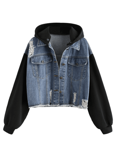 Distressed Frayed Removable Hood Denim Jacket