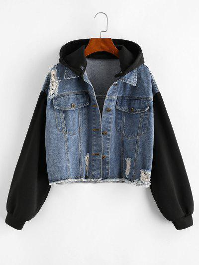 Distressed Frayed Removable Hood Denim Jacket - Blue L
