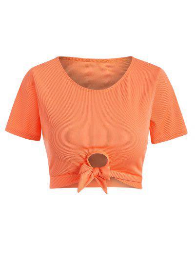 ZAFUL Plus Size Ribbed Tied Keyhole Swim Top - Dark Orange Xxl