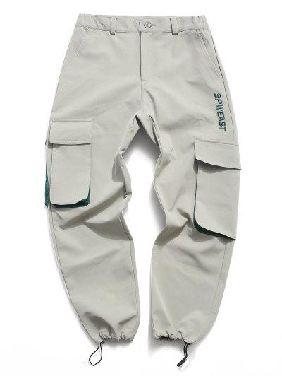 Pantalones De Carga Con Bordado De Letras De Toallas - Gris Claro L