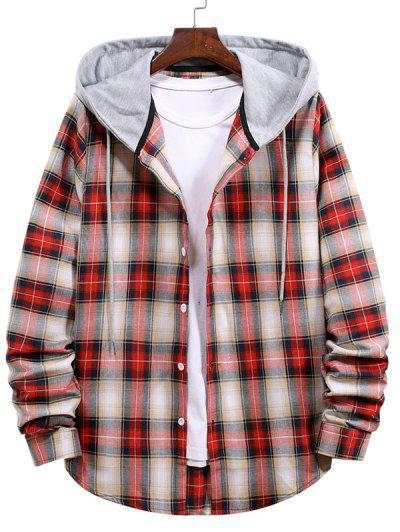Plaid Pattern Colorblock Panel Hooded Shirt - Lava Red M