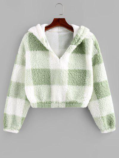 ZAFUL Colorblock Short Teddy Hoodie - Light Green L