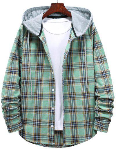 Button Up Hooded Plaid Print Shirt - Light Green M