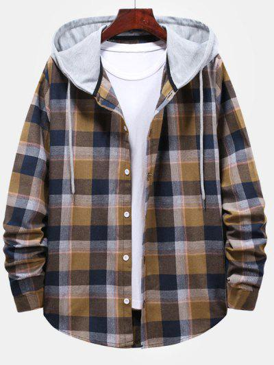 Striped And Plaid Pattern Hooded Button Up Shirt - Camel Brown M