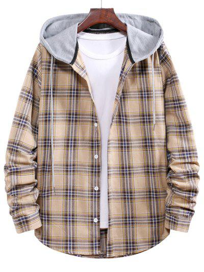 Button Up Hooded Plaid Print Shirt - Goldenrod L