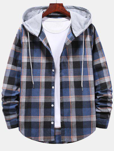 Striped And Plaid Pattern Hooded Button Up Shirt - Blueberry Blue Xl
