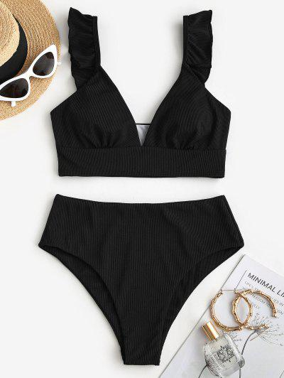 ZAFUL Ribbed Ruffle Plunging Tankini Swimwear - Black S