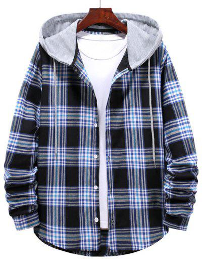 Checkered Stripe Pattern Drawstring Hooded Shirt - Midnight Blue L