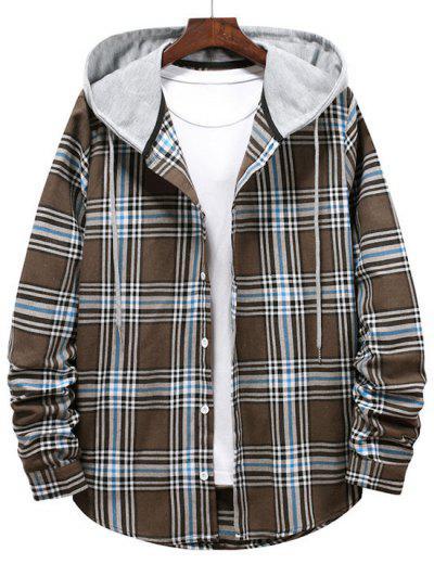 Checkered Stripe Pattern Drawstring Hooded Shirt - Brown Bear M